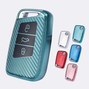 Carbon Fiber Car Key Case For Skoda Superb A7 For Passat B8 VW Golf Key Wallet Smart Car Key Holder