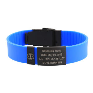 Personalized Tags Stainless Steel Adjustable Custom Rubber Brand Silicone Warpwrist Bracelet ID For