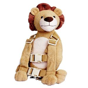 New Soft Fabric Cartoon Animal Lion Type Dolls Toy Backpacks Kids Plush Toys With Safety Traction Be
