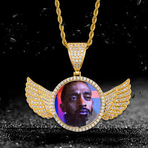 Custom 18K Gold Silver Wings Stainless Steel Chain Necklace Picture Photo Charm Gym Accessories For