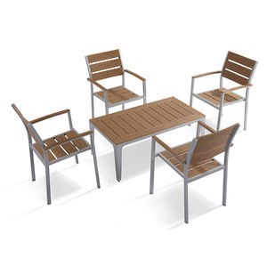 5 pcs Garden Plastic Wood Furniture Set Patio Courtyard Conversation UV-Resistant Chairs and Table N