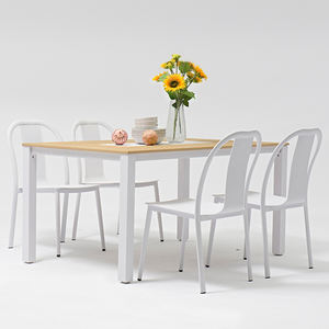 Modern White Metal Aluminum Patio Conversation Dining Tables And Chairs Patio Garden Furniture