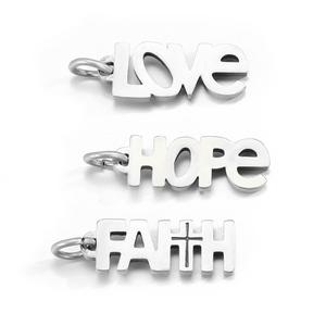 JUJIE 316 L Stainless Steel LOVE HOPE FAITH Charms Accessories Antique Silver Color Charms For Jewel
