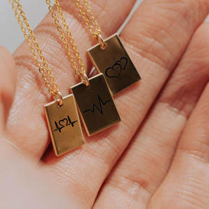 JUJIE Stainless Steel Wholesale Cheap Jewelry Mini Personalized Engraved Name ID Bar Tags Rectangula