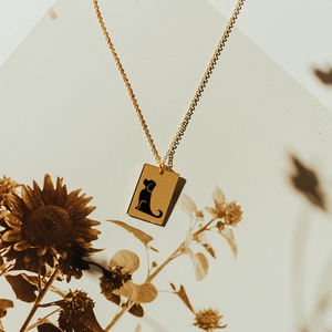 JUJIE 14k Gold Necklace Jewelry Genuine Rectangle Pendant Necklace Gold Chains