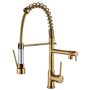 American all copper high pressure pull spring faucet kitchen hot and cold double water golden faucet