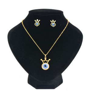Factory Wholesales 14k gold jewelry set eyes earrings and necklace suit with crystal and diamond