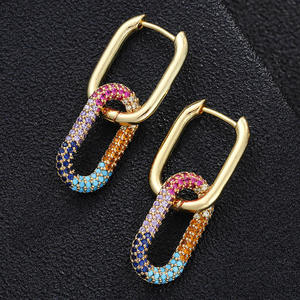 2021 New Vacuum plating hip-hop ladies Copper Creative Oval earrings with colored zircon micro-set e