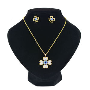 Factory Wholesales 14k gold filled African Womens Necklaces Jewelry set eyes earring with necklace,2