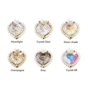Love Hear AB crystal glass 3D nails art ornaments 14mm rhinestone for nail art gem charm DIY Nail Su