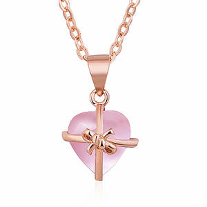 NCM0035 Fashion Rose Gold Plated Heart Rose Quartz Necklace with Bow knot Women Accessories