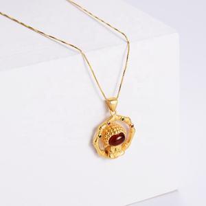 Aizhilin Collier Femme Trendy Gold Plated Women Jade Jewelry Copper Cartoon Character Cute Mini Budd