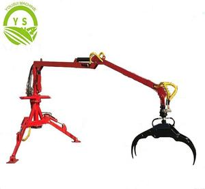Farm machinery trailer with crane 3-point Linkage Forest Log Wood Timber Crane For Tractor