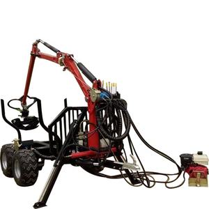 Hydraulic atv farm tractor log timber wood trailer with crane grapple remote control winch for fores