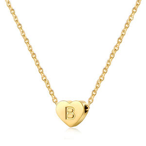 Charm Love Heart Stainless Steel 26 Letter Pendant Name Necklace Lady Letter Jewelry