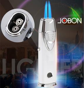 JOBON smoke metal refillable fancy double jet wholesale cigar customized custom logo butane gas torc