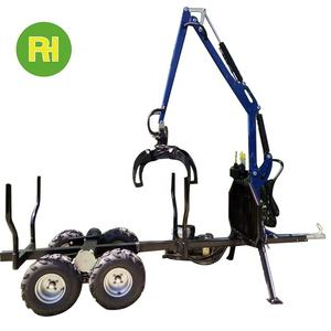 Forestry professional tandem farm quad farming agricultural trailer with crane grapple