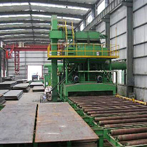 steel beam sand automatic feeding movable vertical surface shot blasting machine
