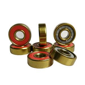 Custom Gold Vacuum Plating Titanium / TiN Coating Skate Longboard Bearing with round iron tin box