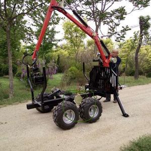 Farm forestry machine atv log crane loader trailer with crane for sale