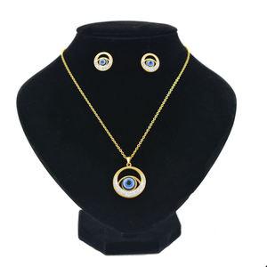 Wholesale Elegant Women Gold jewelry set stainless steel necklaces earrings