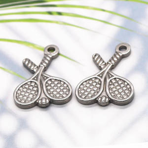 Stainless steel accessory chain retro badminton racket pendant tennis racket DIY handmade necklace p