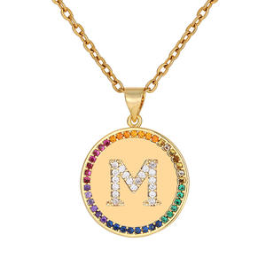 2021 Modern Design Female 26 Letters Necklace Copper Inlaid Colored Zircon Vacuum Plating Stainless