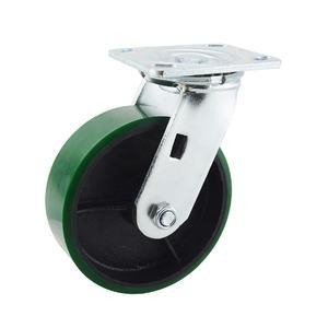 150Mm Iron PU Top Plate Industrial Swivel Heavy Duty Castor Wheel For Trolleys