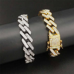 Copper Alloy 18K Rose Gold Plated Crystal Rhombus Pendant Accessories For Mens Bling Jewelry Cuban L