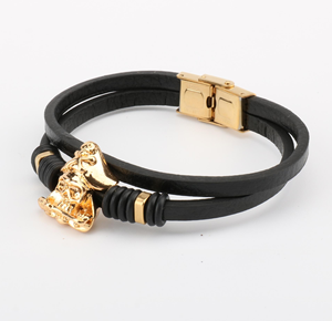 bracelet Black Bracelet with 316 Stainless Steel Button Rose Gold Plated Stainless Steel Accessories
